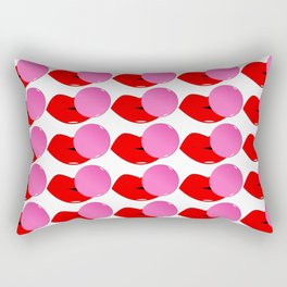 Red Lips and Pink Bubblegum Tiled Rectangular Pillow