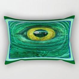 Mystic Golden Lizard Eye  In Green Teal-Malachite Rectangular Pillow
