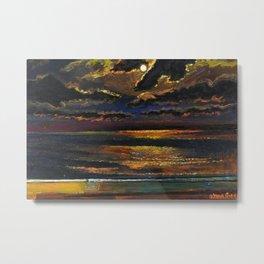 'Moonlight Over a Dark Ocean' coastal landscape painting by F. Cook Metal Print