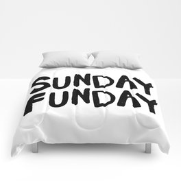 Sunday Funday - black hand lettering Comforters
