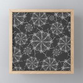Hand painted black white mandala floral pattern Framed Mini Art Print