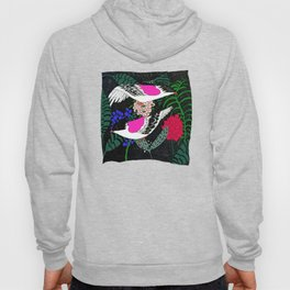 Sgraffito Birds - Bright Fuchsia Botanical Birds and Flowers Hoody