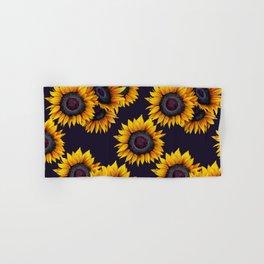 Sunflowers yellow navy blue elegant colorful pattern Hand & Bath Towel