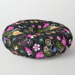 Cycledelic black Floor Pillow