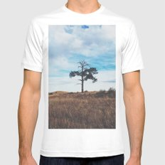 Lonely Tree Mens Fitted Tee MEDIUM White