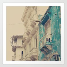 Grunge Summer Town (Retro and Vintage Urban, architecture photography, blue and cream) Art Print