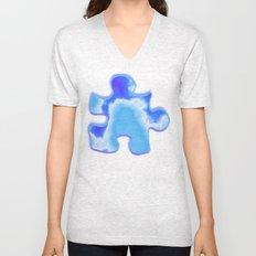 powder blue and indigo sky Unisex V-Neck