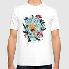 Waves White MEDIUM Mens Fitted Tee
