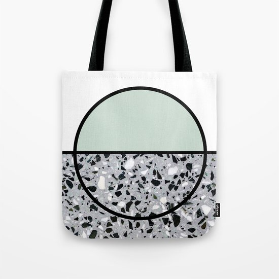 Minimal Modern Terrazzo Pattern Design Mint Green Tote Bag