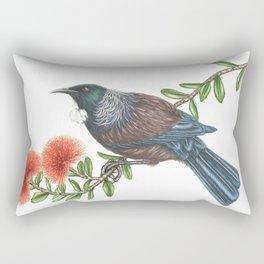 Tui on Pohutukawa Rectangular Pillow
