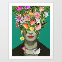 Art Prints featuring Frida Floral by Desirée Feldmann