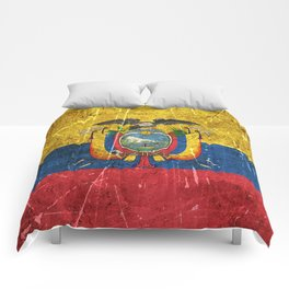 Vintage Aged and Scratched Ecuadorian Flag Comforters