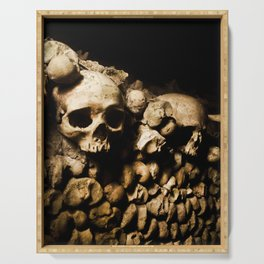 Skull walls in the catacombs Serving Tray