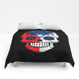 Sugar Skull with Roses and Flag of Czech Republic Comforters