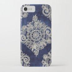 Cream Floral Moroccan Pattern on Deep Indigo Ink iPhone 7 Slim Case