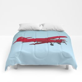 Red biplane Comforters