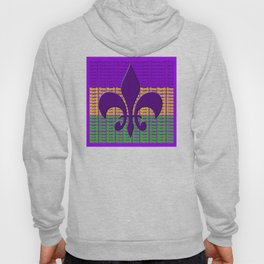 Mardi Gras  tri color with Fleur de lis Hoody