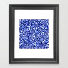 Modern blue handdrawn watercolor floral mandala Framed Art Print