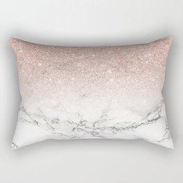 Modern faux rose pink glitter ombre white marble Rectangular Pillow