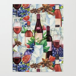 Watercolor wine glasses and bottles decorated with delicious food Poster