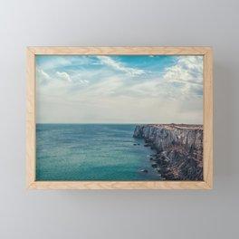 Cliff into the ocean Framed Mini Art Print