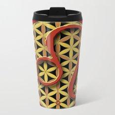 Flower of Life LEO Astrology Design Metal Travel Mug