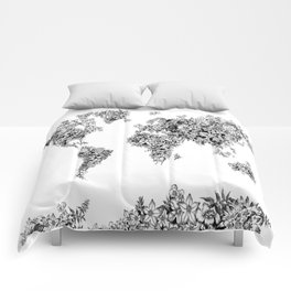 floral world map black and white Comforters