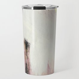 Sunrise [2]: a bright, colorful abstract piece in pink, gold, black,and white Travel Mug