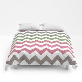 Pink Roses in Anzures 4 Chevron 2T Comforters