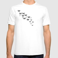 Dream Butterflies White SMALL Mens Fitted Tee