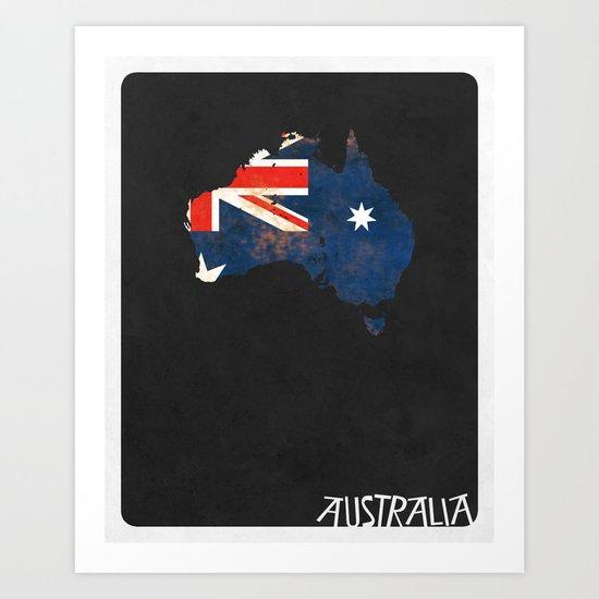 Australia Minimalist Vintage Map with Flag Art Print