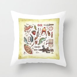Collection of Shiny Objects Throw Pillow