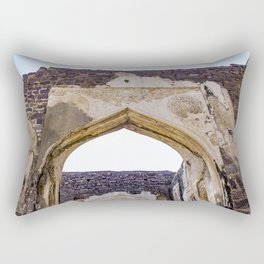 Red Brick Wall with a Mughal Arch Built into It at Golconda Fort in Hyderabad, India Rectangular Pillow
