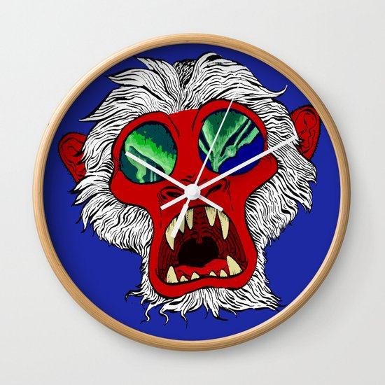 """Arctic Monkey"" by Virginia McCarthy Wall Clock"