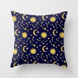 Sun, Moon & Stars Throw Pillow