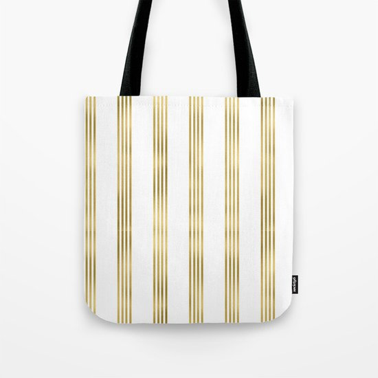 Gold small stripes on clear white - vertical pattern Tote Bag