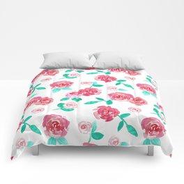 Watercolor Floral Rose Garden Comforters