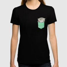 Cat in the Pocket Womens Fitted Tee Black X-LARGE