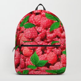Realistic raspberry with green leaves Backpack