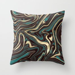 Turquoise Brown Gold Marble #1 #decor #art #society6 Throw Pillow