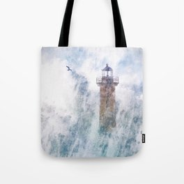 Storm in the lighthouse Tote Bag