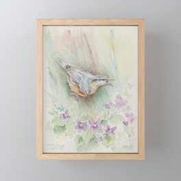 Nuthatch Wildlife watercolour painting Forest bird with flowers Nature painting Vegan Decor Framed Mini Art Print