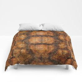 Brown Patterned  Organic Textured Turtle Shell  Design Comforters