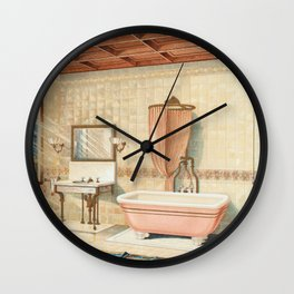 Vintage bathroom interior published in 1877-1893 by JL Mott Iron Works Wall Clock