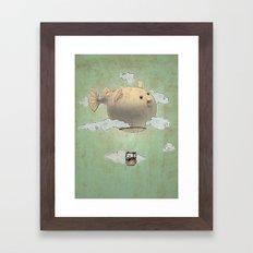 Panda fliying in a Blow fish. Framed Art Print