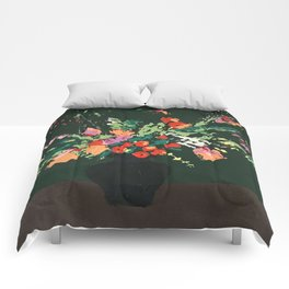 Flowers on Green Comforters