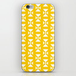 Yellow and White Geometric Print iPhone Skin