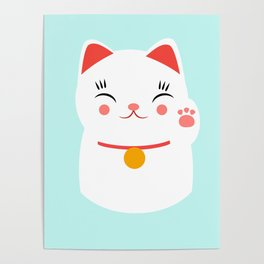 Lucky happy Japanese cat Poster