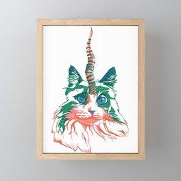 Fluffy Unicat Framed Mini Art Print