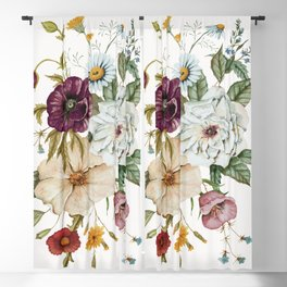 Colorful Wildflower Bouquet on White Blackout Curtain